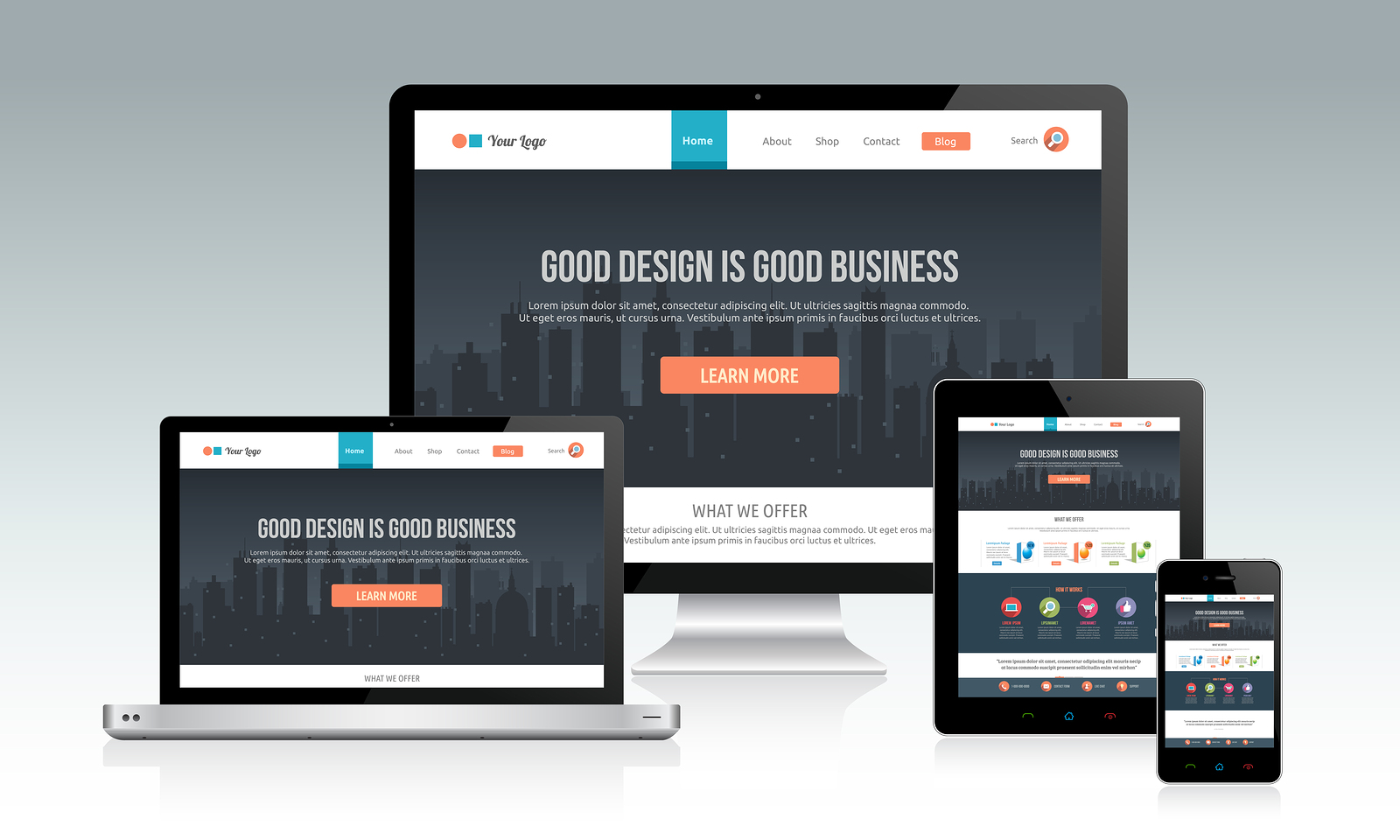 responsiv webbsida fungerar på olika plattformar